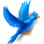 Flying bird sparkles icon