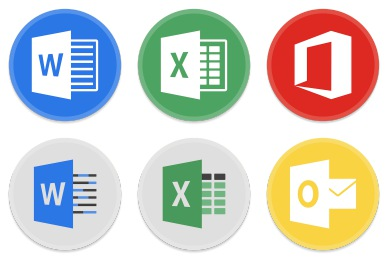 Button UI MS Office 2016 Iconset (15 icons) | BlackVariant