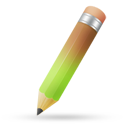 Pencil green brown icon
