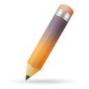 Pencil orange purple icon