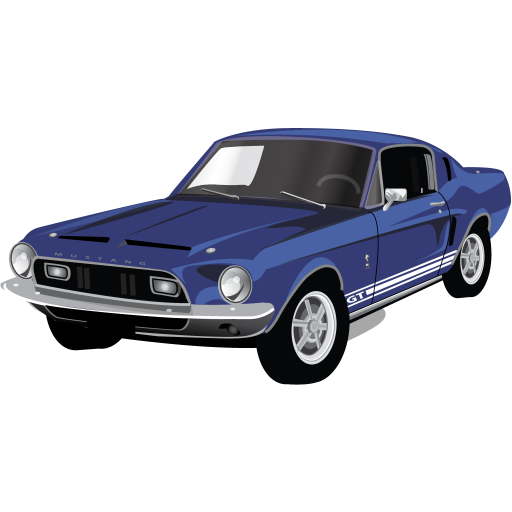 Blue Old American Muscle Car