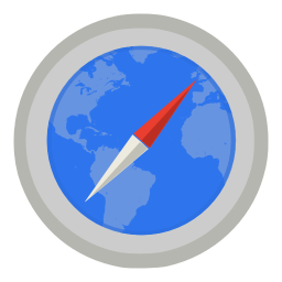 Internet safari with map icon