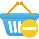 Shopping basket prohibit icon