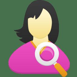 Female user search icon