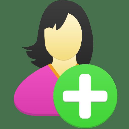 Female-user-add icon