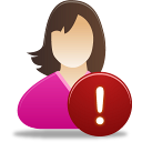female user warning icon