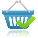 Shopping basket accept icon