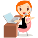 callcenter girls orange icon
