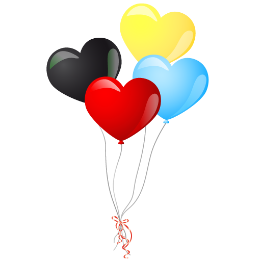Heart balloons Icon | Event People Carnival Iconset | DaPino