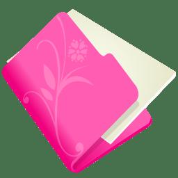 Folder flower pink icon