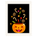 Stamp candy pumpkin icon