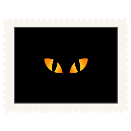 stamp black cat eyes icon