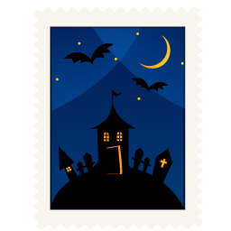 Stamp haunted house icon