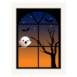 stamp spooky window icon
