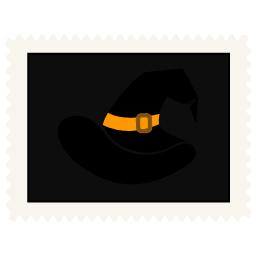 Stamp witch hat icon