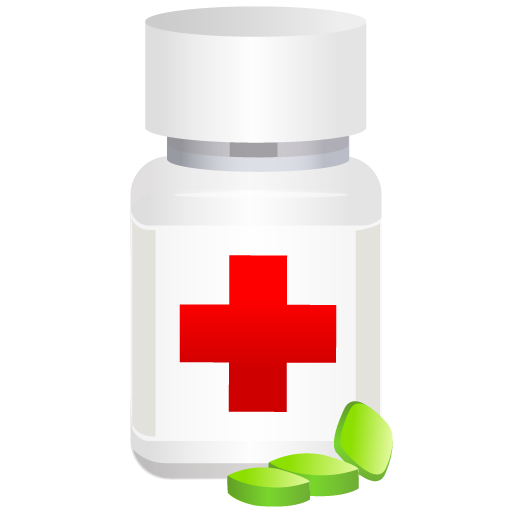 Medical pills pot icon