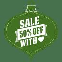 Sale 50 percent off heart green icon
