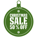 christmas sale 50 percent off icon