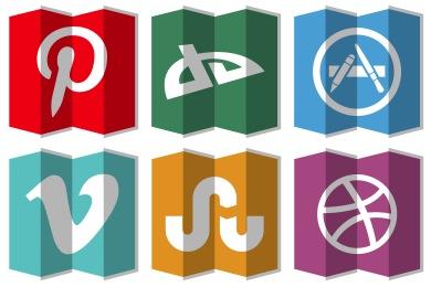 Folded Social Media Icons