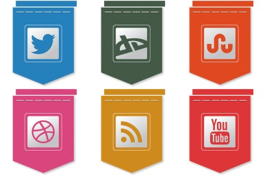 Free Ribbon Social Icons