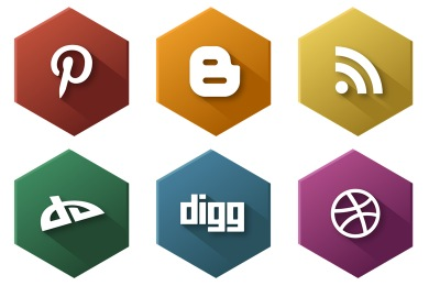 Hexagonal Social Icons