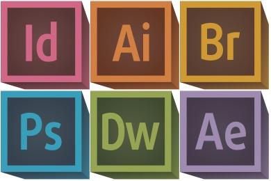 Retro 3D Adobe CC Icons