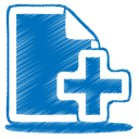 blue document plus icon