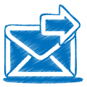Blue-mail-send icon