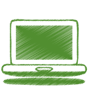 Green laptop icon