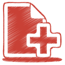 Red-document-plus icon