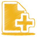 Yellow-document-plus icon