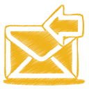 Yellow-mail-receive icon