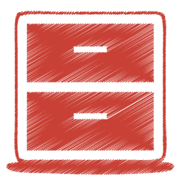 Red archive icon