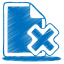 blue document cross icon