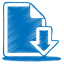 Blue document download icon