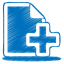 Blue-document-plus icon
