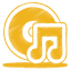 Yellow music cd icon
