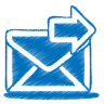Blue-mail-send icon
