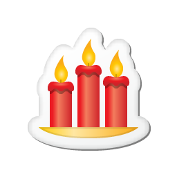 xmas sticker candles icon