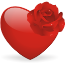 Heart and rose icon