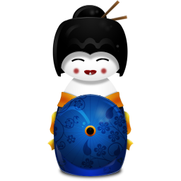 Geisha Japan blue icon
