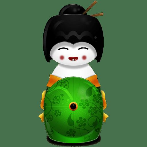 Geisha Japan green icon