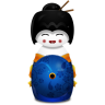 Geisha-Japan-blue icon