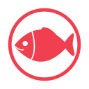 Fish allergy red icon