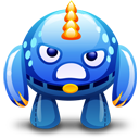 Blue monster angry icon