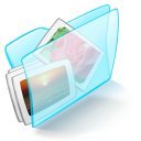 Folder blue pictures icon