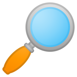 Magnifying glass tilted right icon