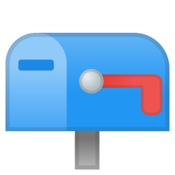 Closed mailbox with lowered flag icon