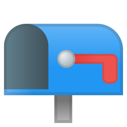 Open mailbox with lowered flag icon