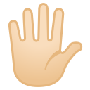 Hand with fingers splayed light skin tone icon